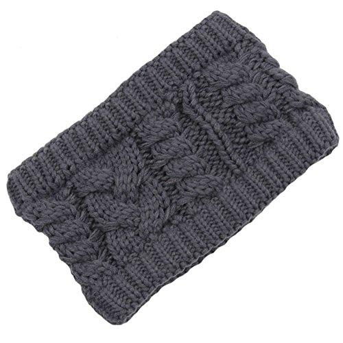 Les filles d'hiver tricoté bandeau tressé oreille plus chaud, Gris foncé