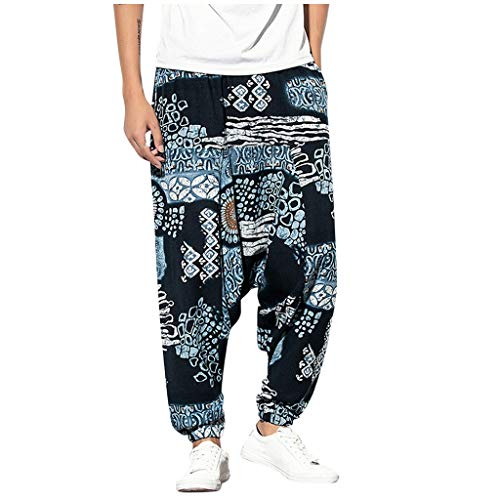 Great Price! Wadonerful-men Vintage Harem Pants Ethnic Style Print Casual Loose Long Pants Summer Sp...