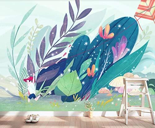 Fototapete 3D Effekt Tapete Aquarell Blumenpflanze Drachen Kinder Tapeten 3D Vliestapete Wandpapier Wandbilder Wohnzimmer Tv Hintergrundbild Wanddeko 150x105cm