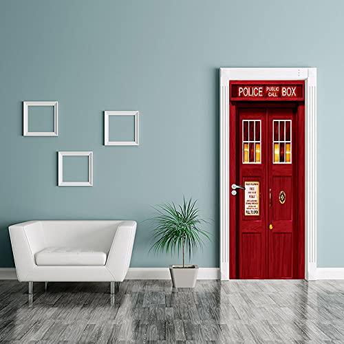 Doctor rojo que,Etiqueta engomada del mural de la puerta del arte moderno 3D vinilo desprendible y pegajoso extraíble (77x200cm) etiqueta engomada de la puerta de la decoración del hogar