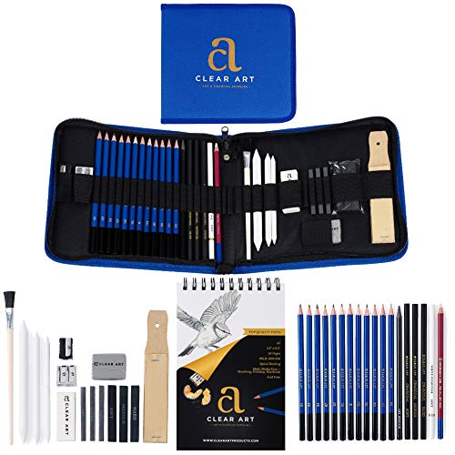 Drawing Kit - Drawing Pencils - Sketch Pencils - 36 Piece Sketch Kit with Case - A5 Sketch Pad - Graphite Pencils - Charcoal Pencils - Erasers - Sharpeners - Blending Stumps - Drawing Tools - eBook