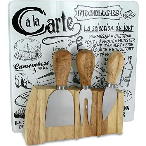 Totally Addict KA1732 Plateau à fromage et ses 3 ustensiles couteau fourchette hachette Avec support aimanté Bois inox et verre Beige gris et noir H22 x 4 x 21 cm