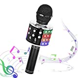 Karaoke Wireless Microphone, Toy for Kids Adults 4 in 1 Bluetooth Handheld Karaoke Mic Speaker with Colorful Lights and Record Function Portable Singing Machine