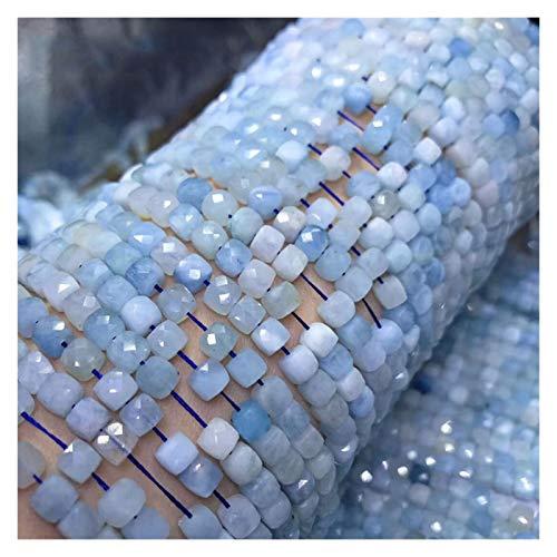 OYPY Perlas de Aquamarine Amatista Naturales turmalina de Piedras Preciosas talladas Perlas Cubo 4.5-5m m for la joyería Que Hace 15.5inch (Color : Aquamarine)