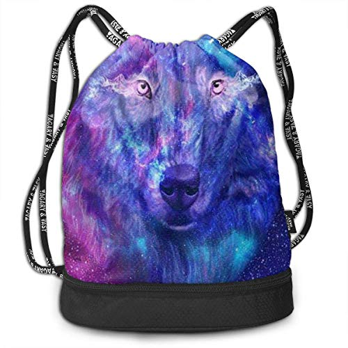 XCNGG Drawstring Backpack,Wolf Print Sport Travel Gym Bundle Backpack Bag