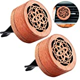 2 Pieces Essential Oil Car Diffuser Wooden Flower Aromatherapy Diffuser Portable Vehicle-mounted Fragrant Car Air Outlet Diffuser Vent Clip with Lava Stone, 1.38 x 0.59 Inch