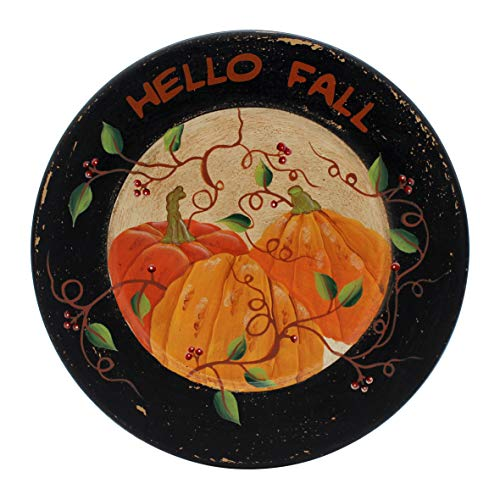 """CVHOMEDECO. Primitives Antique Pumpkin Painted Wood Decorative Plate Halloween Display """"Hello Fall"""" Wooden Plate Home Décor Art, 10-3/4 Inch"""