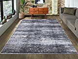 A2Z Rug|Palma 1787 Modern Abstract Dark Silver Grey Pattern|Dining Room Living Room Area Rug|Soft low Pile|200x290cm - 6'7'x9'6'ft|Contemporary Large Area Carpet