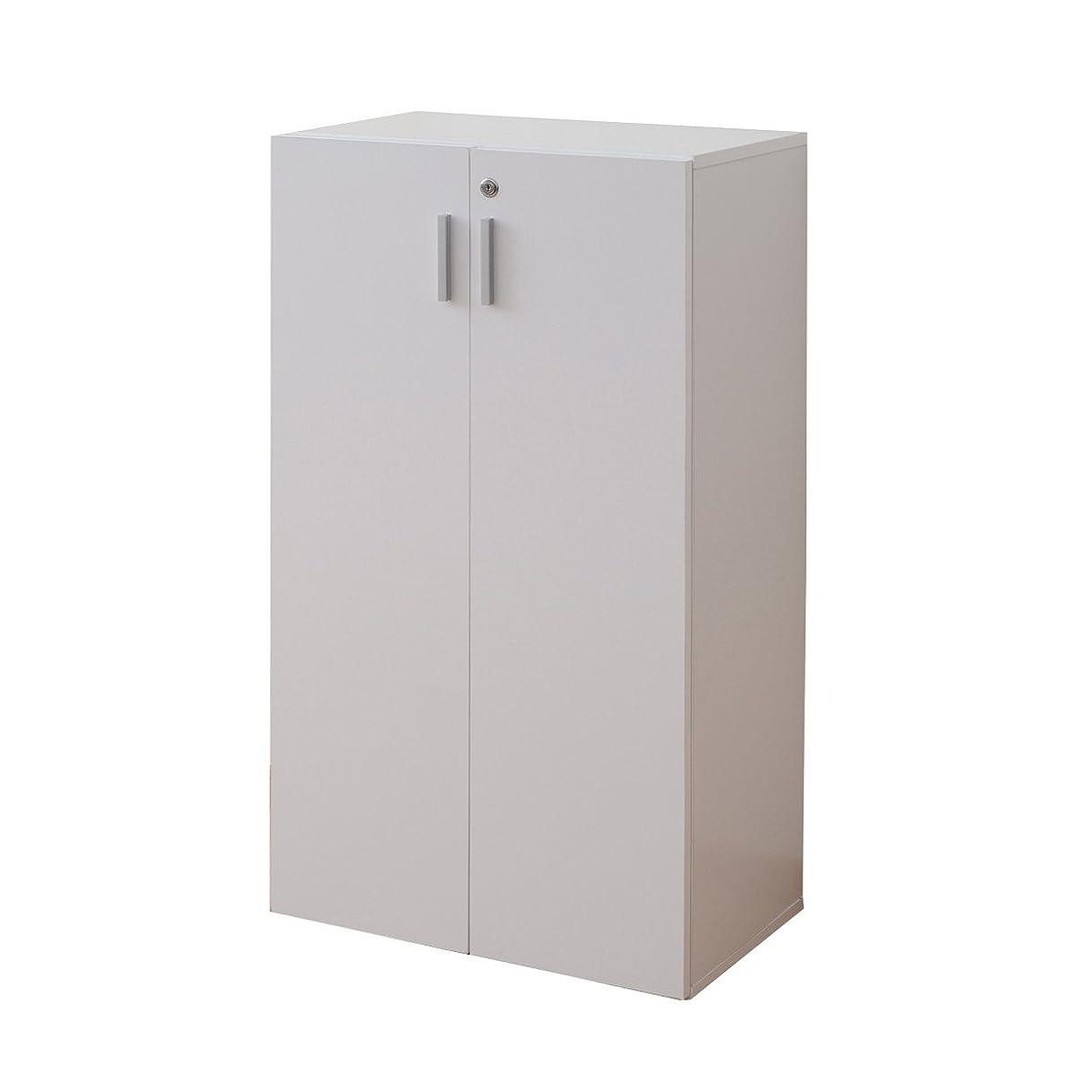 レクリエーションマントル請う山善(YAMAZEN) 本棚 両開き 鍵付き(幅60 高さ109.5) 3段 ホワイト CEB-1160D(WH)