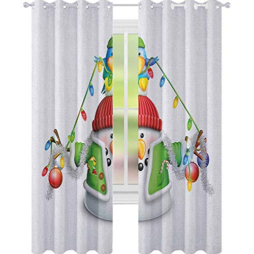YUAZHOQI Snowman Room Darkening Window Curtains Cartoon Whimsical Character with Christmas Garland Blue Bird Various Xmas Elements Waterproof Window Curtain 52' x 72' Multicolor