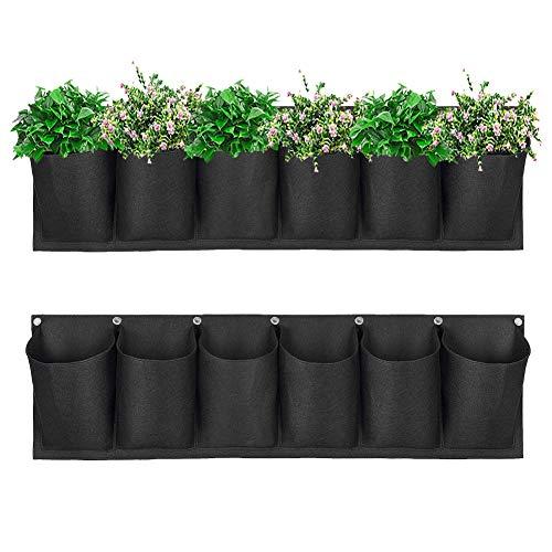 Dsaren 6 Tasca Fioriera da Parete Orizzontale Verticali Fioriere Appendere Fiori Pianta Grow Bag per Giardino, Balconi, Yards, Patii, Appartamenti