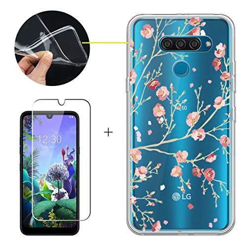 LJSM Hülle für LG Q60 + Panzerglas Bildschirmschutzfolie Schutzfolie - Transparent Weich Silikon Schutzhülle Crystal Flexibel TPU Tasche Hülle für LG Q60 (6.26