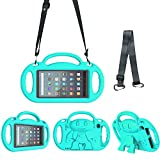 Surom Kids Case for All New Amazon Fire 7 2019/2017, Light Weight Shock Proof Friendly Handle Kids Stand with Shoulder Strap for Fire 7 Tablet (9th & 7th Generation, 2019 & 2017 Release), Turquoise