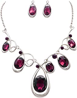 Women's Statement Silver Tone and Spiral Loop Crystal Bib Necklace and Earrings Set