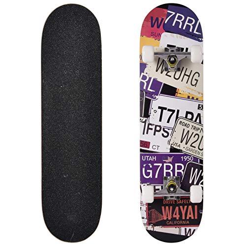 Skateboard,Komplettboard,80x20cm Cruiser Skateboard,9-lagigem Ahornholz Anfänger Skateboard,mit ABEC-7 Kugellager, für Kinder, Jugendliche und Erwachsene (B)