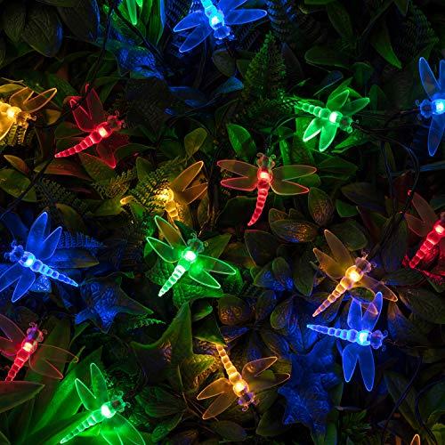 Lights4fun 20er LED Solar Lichterkette Libellen bunt