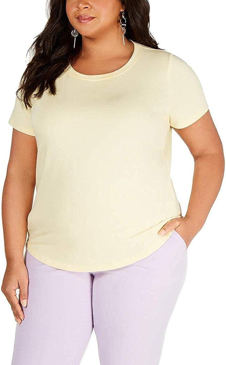 BAR III Women's Plus Size Crewneck T-shirt Casual Shirt Top