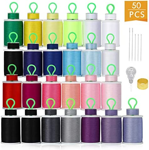 HAITRAL 50Pcs Bobbins and Sewing Threads 21 Colors Cotton Sewing Machine Thread for Singer Brother product image