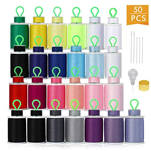 HAITRAL 50Pcs Bobbins and Sewing Threads, 21 Colors Cotton Sewing Machine Thread for Singer Brother Babylock Janome Kenmore (Mixed Cotton)