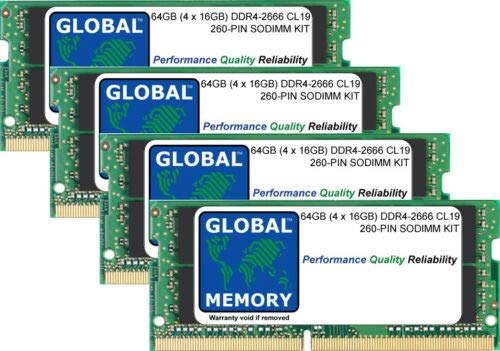 64GB (4 x 16GB) DDR4 2666MHz PC4-21300 260-PIN SODIMM MEMORY RAM KIT FOR 27