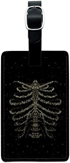 Rib Cage Skeleton Bones Stars Galaxy Rectangle Leather Luggage Card ID Tag