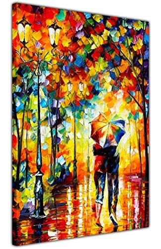 AT54378D - Stampa su tela con cornice sotto uno ombrello di Leonid Afremov su astratto pittura ad olio ri-stampa incorniciata, stampa artistica da parete, dimensioni: A2-61 x 40 cm