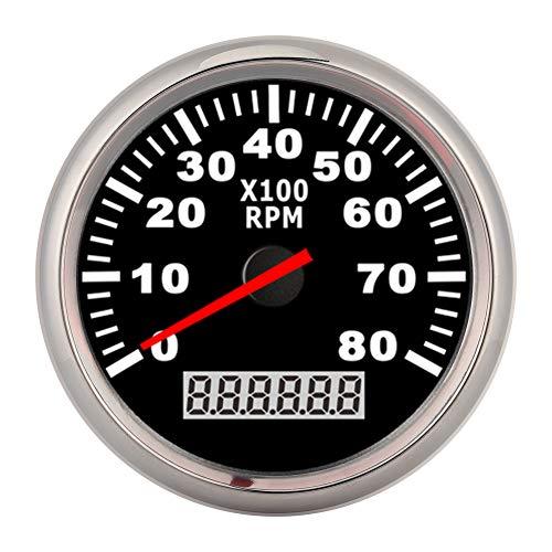 Tacómetro, puntero de 85 mm Tacómetro digital 8000RPM Luz de fondo LED roja Medidor de horas marino impermeable para coche, barco y yate(Marco plateado sobre negro)