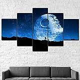 Cuadro Moderno En Lienzo 5 Piezas Destructor de Star Wars Cuadro De Pintura Póster De Arte Moderno Oficina Sala De Estar O Dormitorio Decoración del Hogar Arte De Pared 200X100CM