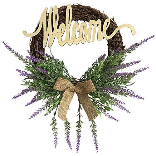 SUREH - Ghirlanda di fiori di lavanda per porta d'ingresso con fiocco annodato artificiale, ghirlanda di fiori di lavanda su base ramoscello con foglie verdi, decorazione per la casa