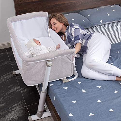 Baby BassinetRONBEI Bedside SleeperBaby Bed to BedBabies Crib Bed Adjustable Portable Bed for Infant/Baby Boy/Baby Girl/Newborn Light Grey