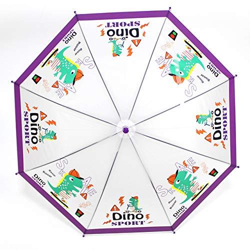 NJSDDB Paraplu SAFEBET Kinderen Paraplu Cartoon Kat Paraplu's Transparant Kinderen Paraplu Semi Automatische Leuke Dieren Paraplu's, Dino
