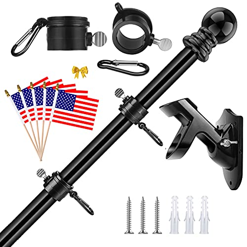 Flag Pole Kit, 5FT Stainless Steel Flag Pole for House with Bracket Tangle Free American Flagpole for Outside Residential Roof Porch Garden Yard Truck Commercial (Black Flag Pole with Black Holder)