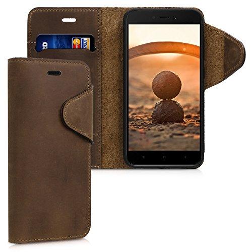 kalibri Funda Compatible con Xiaomi Redmi 5A - Case con Tapa magnética de Cuero de Piel Real en marrón