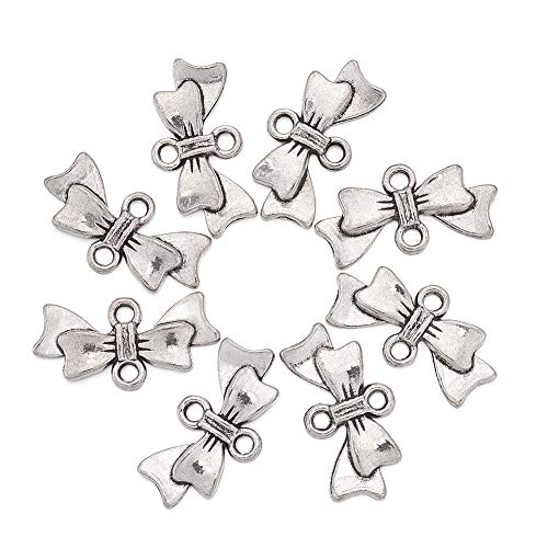 Beadthoven 50pcs Bowknot Alloy Links Beads Tibetan Style Antique Silver Bow Connector Charms for DIY Jewelry & Crafts