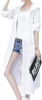 Mogogo Womens Embroidered Sunscreen Hood Long Long-Sleeve Rain Jacket