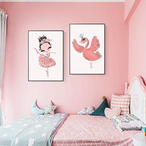 AdoDecor Nordic Home Decoration Gemälde Ballerina Mädchen Poster und Drucke Kinderzimmer Wandkunst Wandbilder für Kinder Bedroom 40x60cmx2 Ungerahmt