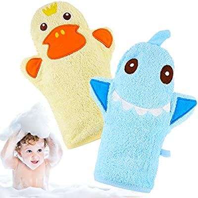 2 Pieces Baby Bath Mitt Washcloths with Cute Animal Designs Yellow Duck Shark Cotton Towel Gentle Soft Scrub for Toddler Bath and Shower