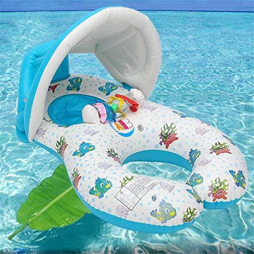 YAOXI Aufblasbare Wasser-Hängematte, Aufblasbare Baby-Schwimmen-Ring-Sonnenschutz-Schlauch Raft Pool Float Spielzeug-Sicherheits-Sitz Mit Mutter Wasserbett Matratze Kreis,A