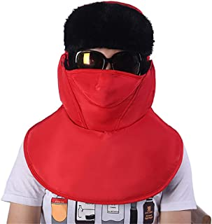 Hat Fashion Cold Wind Shield Ladies Neck Warm Hat Outdoor Riding Men's Ear Protection Lei Feng Hat Fashion Accessories (Color : Red)
