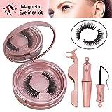 Winpok Ciglia Magnetiche con Eyeliner Magnetico, Ciglia magnetiche, Impermeabile Eyeliner Pen Magnetico, 3D Naturali Ciglia Finte Magnetiche Riutilizzabili Ciglia Finte Con 5 Magneti (Gold)