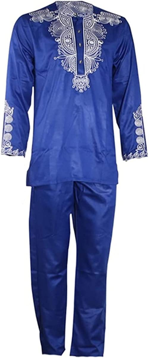 Men's top 2 Piece Suit African Clothing Dashiki Shirt with Trousers