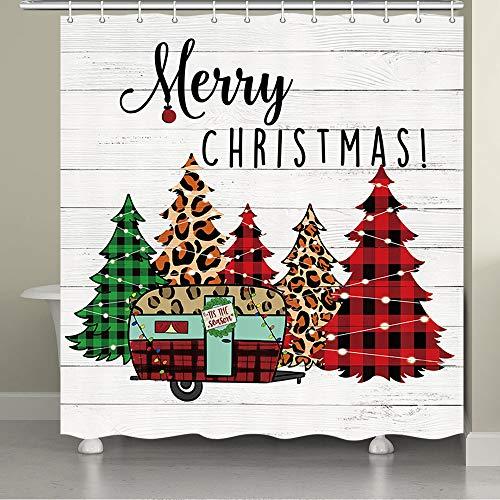 JAWO Farmhouse Weihnachten Duschvorhang für das Badezimmer, RV in Büffel Karo Hölzer Merry Christmas Decor Badezimmer Vorhang Weihnachtsbaum Badezimmer Dekor Weihnachtsbaum Badezimmer Set Zubehör