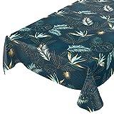 Wachstuchtischdecke abwaschbar Garten Tischdecke Wachstuch Rund Oval Eckig Indoor Outdoor Blätter Gold Blau 100x140cm