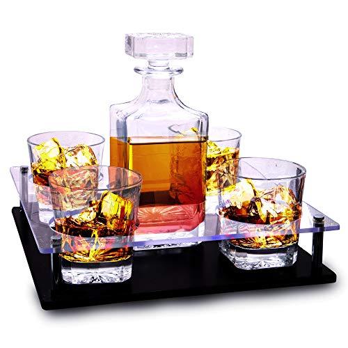 Bezrat - Set di bicchieri da whisky e decanter in legno ricco di mogano, base in vetro acrilico, 4 bicchieri scozzesi borboni, confezione regalo