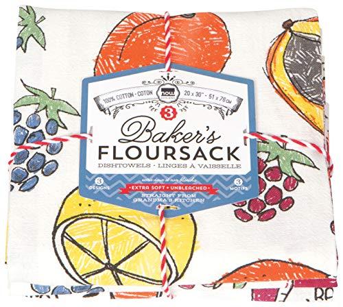 Now Designs Let's Jam Floursack Kitchen Towels, Set of 3