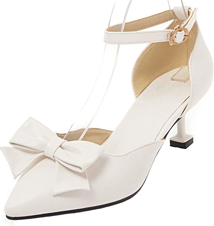 Lelehwhge Women's Cute Bowknot Buckle Ankle Strap Pointed Toe Kitten Heels Sandals White 8 M US