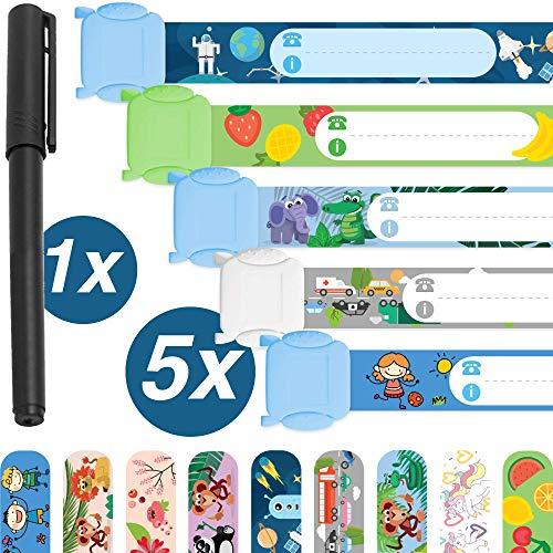 Notfallarmband Set für Kinder · 5 Stück + Stift · Sicherheitsarmband · Wasserfest · Wiederverwendbar · SOS Armband · Jungs · Tampen Kinder
