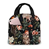 Lsjuee Floral and Cats Pattern Picnic Bag Lunch Bag Ligero Impermeable Unisex Shopping Bag School Picnic Outdoor