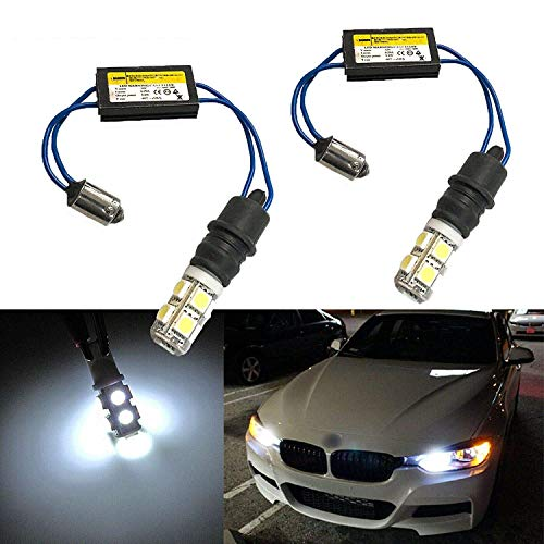 Xotic Tech 2X White 6000K Error Free BA9 H6W LED Bulbs Kit Compatible with BMW F30 3 Series Parking Lights