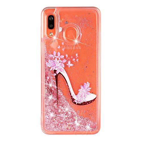 Miagon Flüssig Hülle für Samsung Galaxy M20,Glitzer Weich Treibsand Handyhülle Glitter Quicksand Silikon TPU Bumper Schutzhülle Case Cover-Rosa High Heels